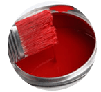 Red paint, paint brush dipped in.